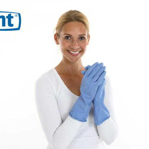 CMT huishoudhandschoen rubber Medium food approved blauw 144 paar - 157