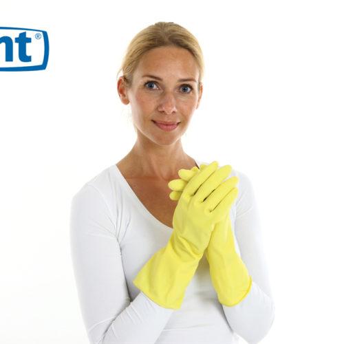 CMT huishoudhandschoen rubber Medium food approved geel 144 paar - 152