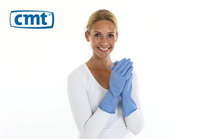 CMT huishoudhandschoen rubber blauw food approved XXL per paar in polyzak - 160